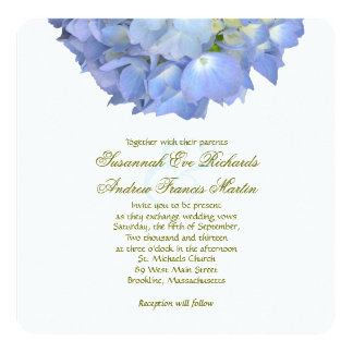 Blue Floral Elegant Hydrangea Wedding Card