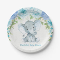 Blue Floral Elephant Baby Boy Shower Party Plate