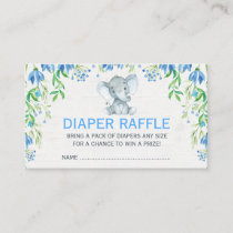 Blue Floral Elephant Baby Diaper Raffle Ticket Enclosure Card
