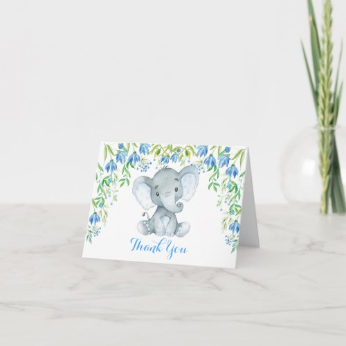 Blue Floral Elephant Baby Shower Thank You Note