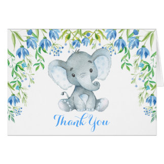 Blue Floral Elephant Baby Shower Thank You Note Card