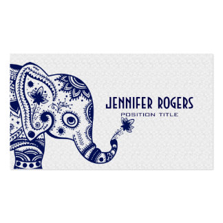 Blue Floral Elephant Over White Lace Background Business Card