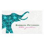 Blue Floral Elephant White Damasks Double-Sided Standard Business Cards (Pack Of 100)