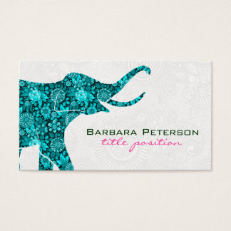 Blue Floral Elephant White Damasks Business Card