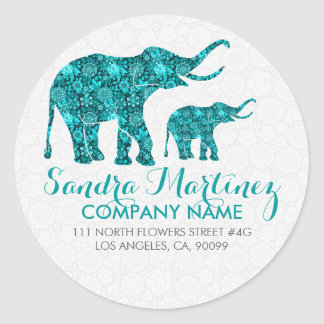Blue Floral Elephant White Damasks Classic Round Sticker