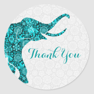 Blue Floral Elephant White Damasks Thank You Classic Round Sticker