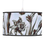 Blue Floral Etching Hanging Lamp