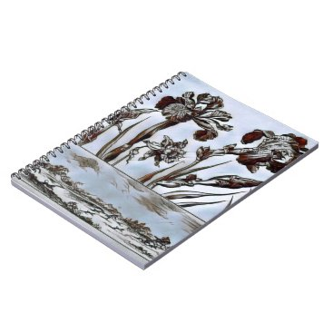 Aztec Themed Blue Floral Etching Spiral Notebook