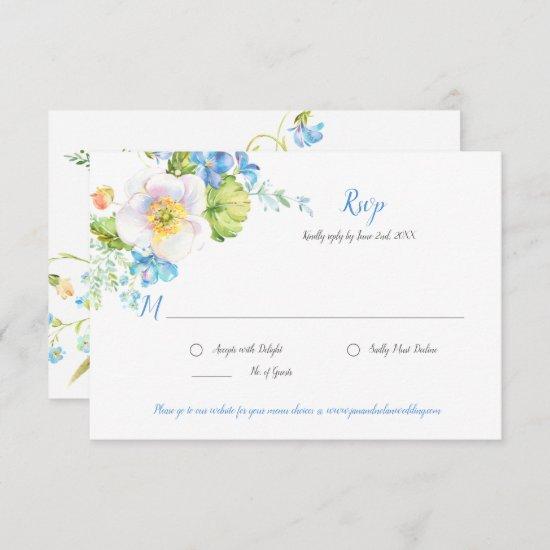 Blue Floral Fantasy Watercolor Floral RSVP Card