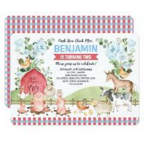 Blue Floral Farm Animals Barnyard Birthday Party Invitation