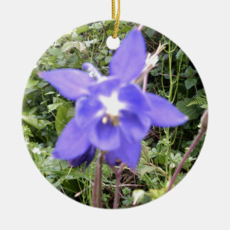 Blue Floral Flower Image Ceramic Ornament