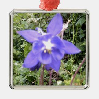 Blue Floral Flower Image Metal Ornament