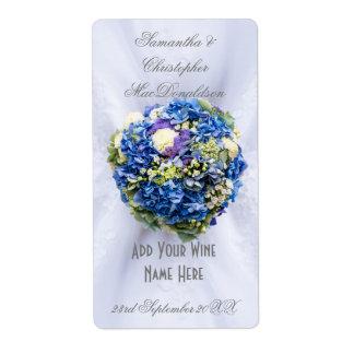 Blue floral flowers wedding dress wine bottle label
