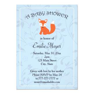 Blue Floral Fox Woodland Baby Shower Card