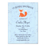 Blue Floral Fox Woodland Baby Shower Custom Invites
