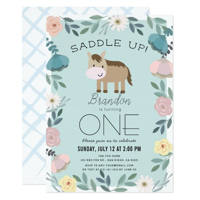 Blue Floral Garden Horse Boy 1st Birthday Invitation