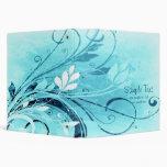 Blue Floral Grunge 3 Ring Binder