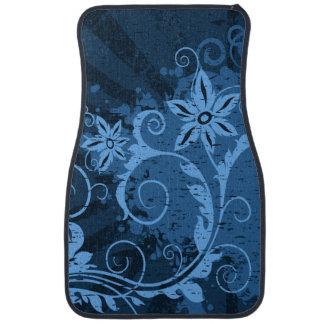 Blue Floral Grunge Car Mat
