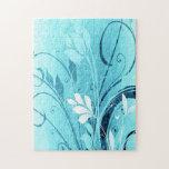 Blue Floral Grunge Puzzle
