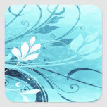 Blue Floral Grunge Square Stickers