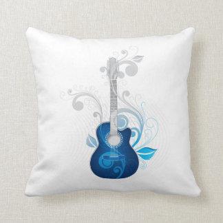 Blue Floral Guitar Throw Pillow