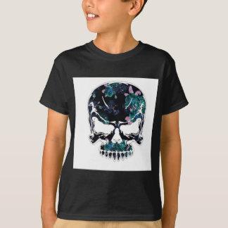 Blue Floral Halloween Skull T-Shirt