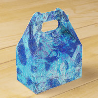 Blue Floral Handmade Design With Black Accents Favor Box
