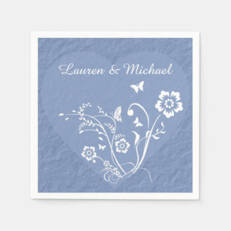 Blue Floral Heart Personalized Wedding Napkin