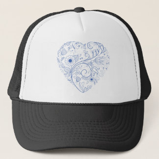 Blue floral heart trucker hat