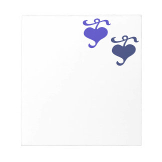 Blue Floral Hearts Notepad
