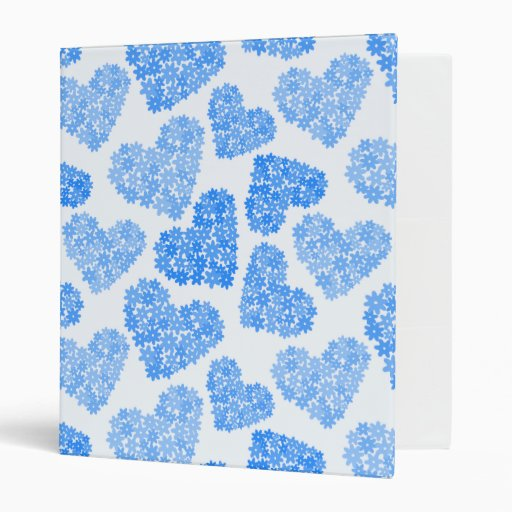 Blue floral hearts pattern binders