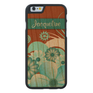 Blue Floral Hibiscus Carved® Wooden iPhone 6 6S Carved® Cherry iPhone 6 Case