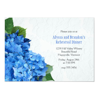 Blue Floral Hydrangea Wedding Rehearsal Dinner Card