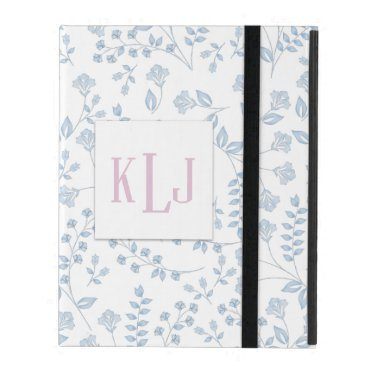 Blue Floral iPad 2/3/4 Case with No Kickstand