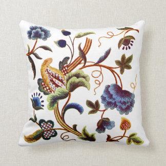 Blue Floral Jacobean Faux Embroidery Pillow