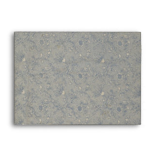 Blue Floral Lace  Envelope - A7 Greeting Card