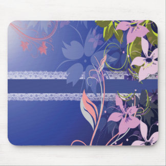 Blue Floral Lace Mouse Mat