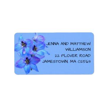 Beach Themed Blue Floral Larkspur Modern Return Address Labels