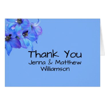Beach Themed Blue Floral Larkspur Personalized Thank You Notes