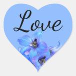 Blue Floral Larkspur Summer Wedding  Love Heart Sticker