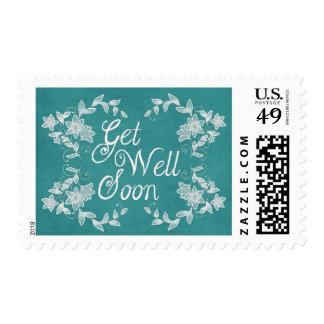 Blue Floral Leaf Get Well Soon Stamp
