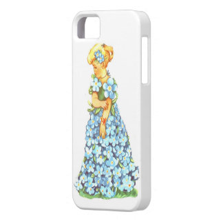 Blue Floral Little Greeting-Card Girl Fantasy iPhone 5 Cases
