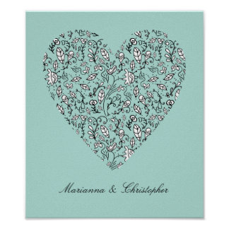 Blue Floral Love Heart Poster