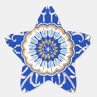 Blue Floral Mandala Pattern Star Sticker