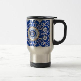 Blue Floral Mandala Pattern Travel Mug