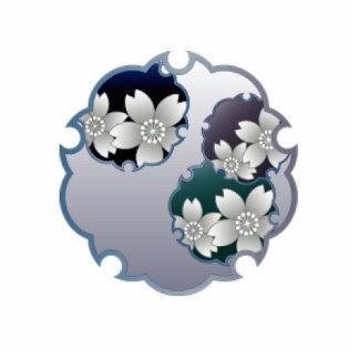 Blue Floral Medallion Cut Out