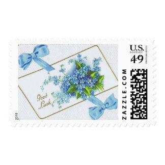 "Blue Floral Medium, 2.1"" x 1.3"", $0.47 Stamp"