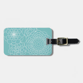 Blue Floral Modern Abstract Flowers Luggage Tag