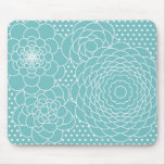 Blue Floral Modern Abstract Flowers Mouse Pads
