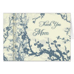 Blue Floral Mom Wedding Day Thank You Card